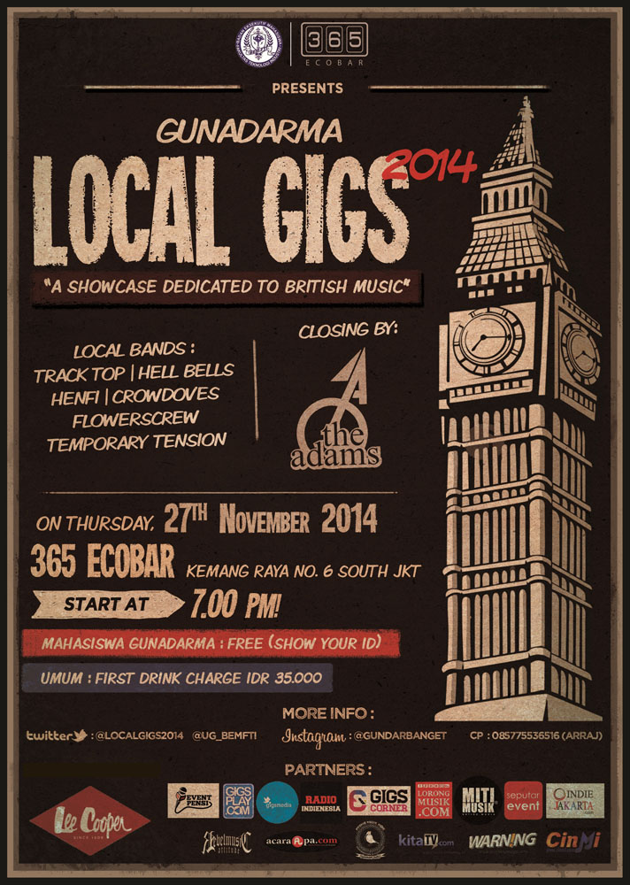 poster gunadarma local gigs 2014