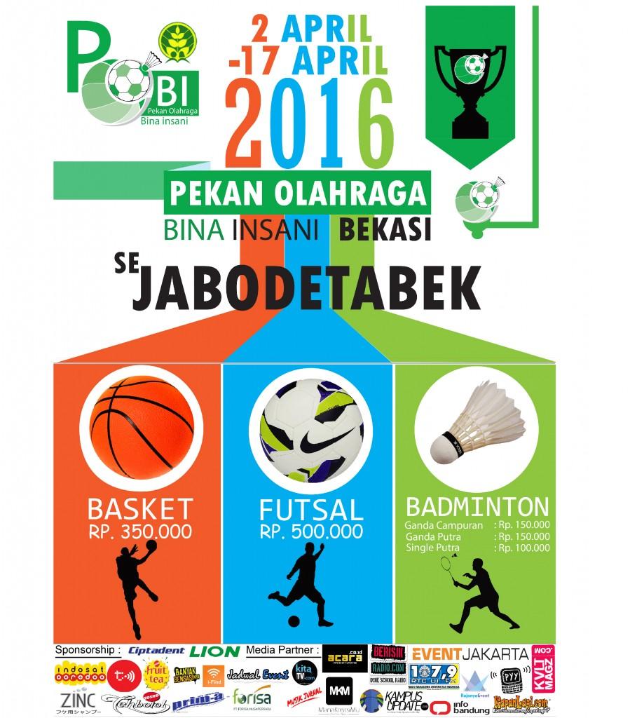 Poster Media Partner pekan olahraga bina insani pobi