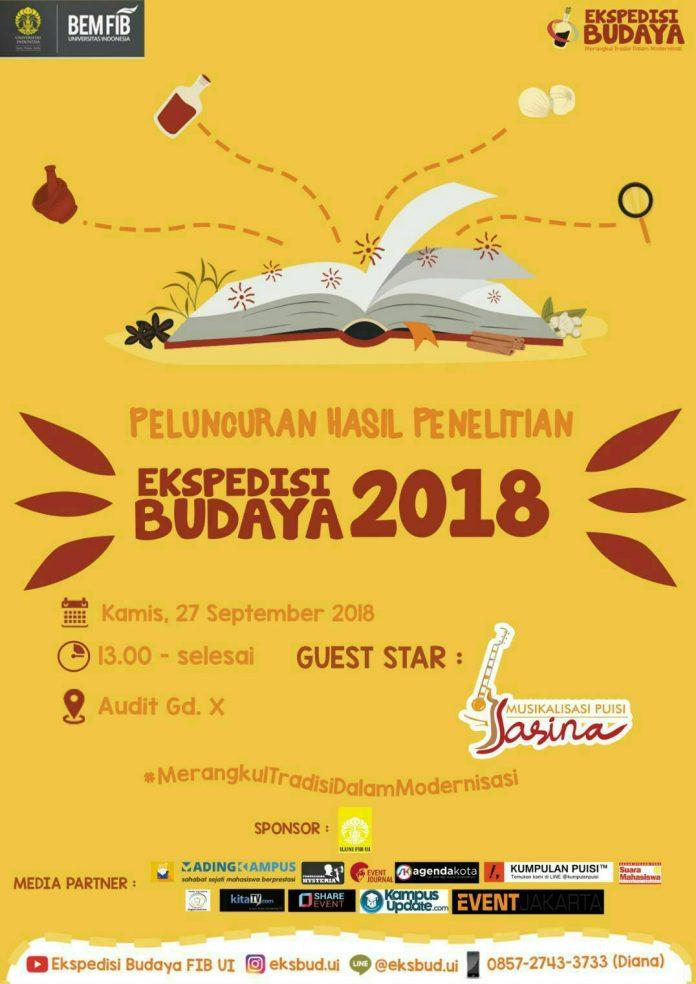 Poster event ekspedisi budaya ui 2018